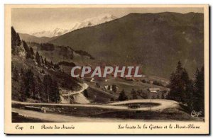 Old Postcard Route Aravis laces of Giettz and Mont Blanc