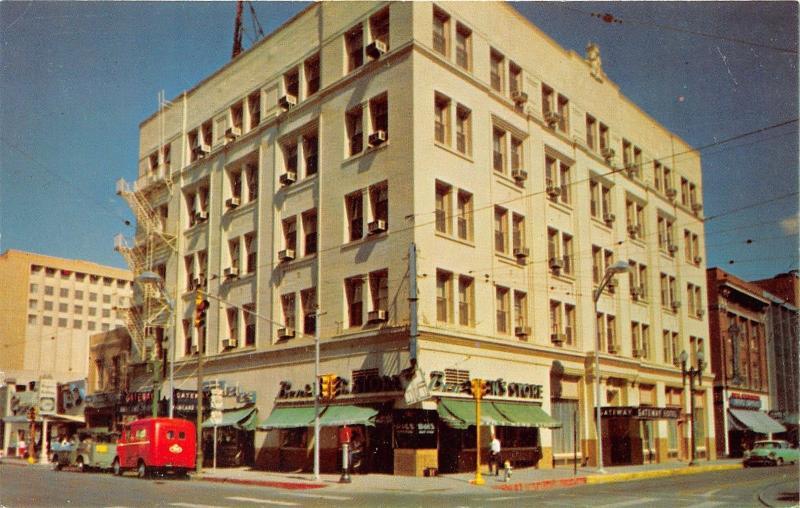 El Paso Texas Gateway Hotel On Stanton San Antonio Street 50s Car