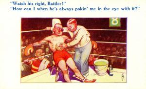 Humor - Watch his right (Boxer).   Artist: Arnold Taylor