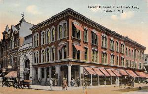 Plainfield NJ Beaux Arts Bldg~Bank~Bike~E Front & Park Ave (All Gone Now!) c1914