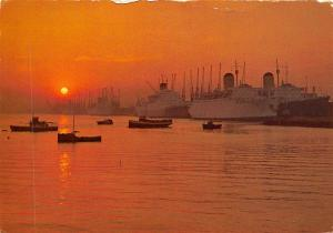 Southampton Docks, Liners and Cargo Ships, boats, port, sunset