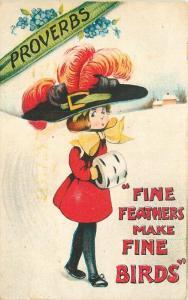 Artist impression Big Hat Comic Fine Feathers 1915 birds postcard 10356