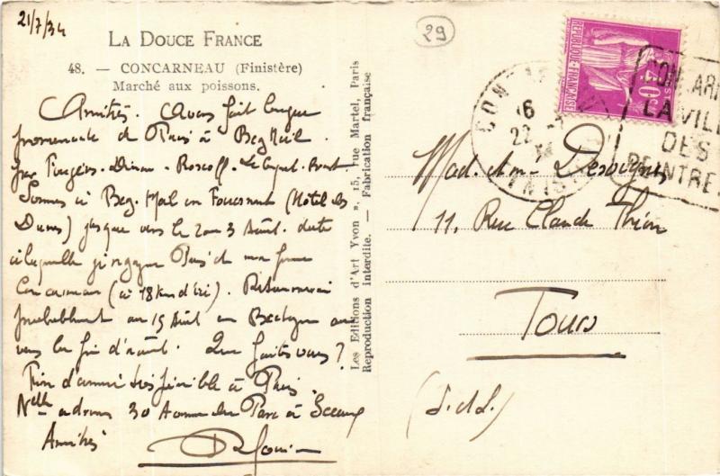 CPA Concarneau Marché aux poissons FRANCE FOLKLORE (789454)