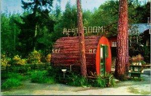 Vtg Postcard Garberville CA California Grundy's Terrace He and She Restroom UNP