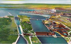 Aerial View of Canadian Locks, SAUL STE. MARIE, Ontario, Canada, 40-60´s