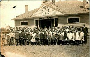 Vtg Postcard 1904-18 AZO RPPC - Santa Clara Grade School Group Photo California