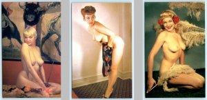 3 Postcards Vintage Classic Pin-ups RISQUE, NUDES #219, #273, #244