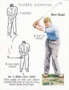 Player Vintage Cigarette Card Golf 1939 No 16 No 2 Iron Full Shot Bert Gadd