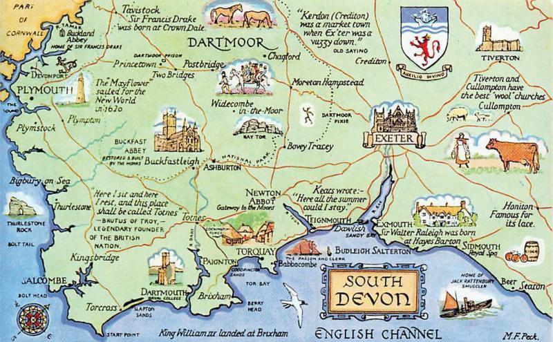 South Devon England Map.England South Devon Map Dartmoor Exeter Coat Of Arms English