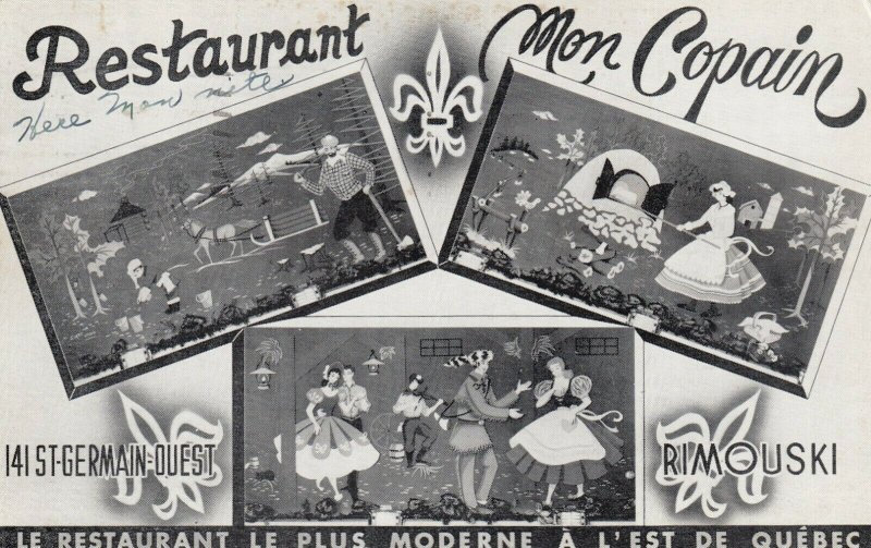 RIMOUSKI , Quebec , Canada , 1958 ; Restaurant Mon Copain, 3-views