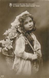 Cute girl birthday greetings early postcard