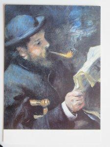 Claude Monet lisant by Auguste Renoir Vintage  Chrome Postcard