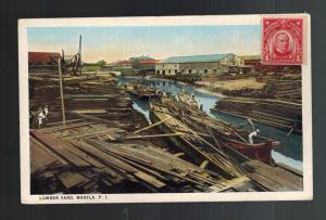1910s Philippines PPC Postcard Cover Lumber Yard in Manila