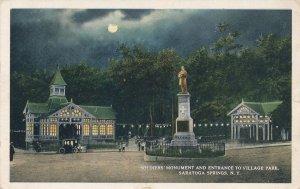 Saratoga Springs NY New York Monument Village Park Entrance Moonlight pm 1915 WB