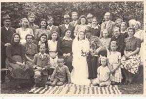 REAL PHOTO PC 1944 HUNGARY ZALAKOPPANY MILITARY GROOM WEDDING FAMILY GROUP