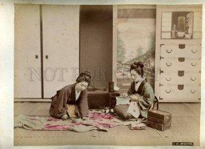 231197 JAPAN GEISHA tea Vintage CABINET two tinted PHOTOS