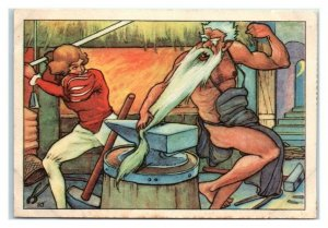 Hans Fights Off Giant Echte Wagner German Trade Card *VT31A