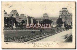 Old Postcard Paris Louvre Palace and Garden