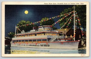 Indian Lake Russells Point Ohio~Plaza Show Boat Night Lights~Beer 10c~1940 Linen
