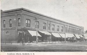 South Dakota SD Postcard 1912 REDFIELD Bank Stores SYNDICATE BLOCK