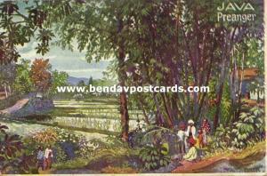 indonesia, JAVA PREANGER, Sawah View (1910s) Artist Signed H. Kalmsteiner