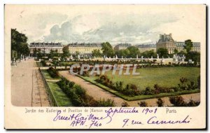 Old Postcard Tuileries Garden and Pavilion de Marsan Paris