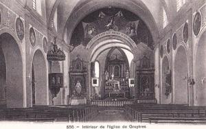 Switzerland Swiss Gruyeres Church Interior Antique Postcard