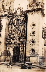 Taxco MX Church of Santa Prisca~1930s Auto~Wrought-Iron~1000 Americans RPPC