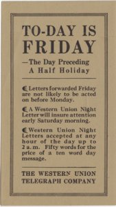 WESTERN UNION ADVERTISEMENT FOR NIGHT LETTERS.. 50 words for price of 10 -1910s