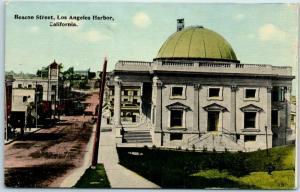 San Pedro, California Postcard Beacon Street, Los Angeles Harbor c1910s Unused