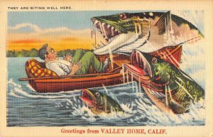 Valley Home California Greetings From fish exaggeration linen pc ZD549955