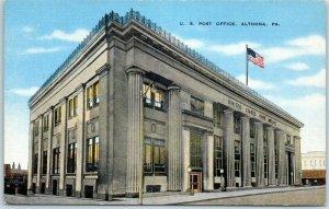 Altoona, Pennsylvania Postcard U.S. Post Office Street View KROPP Linen c1940s