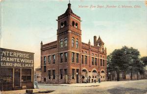 F10/  Warren Ohio Postcard Fire Department 1909 Fire No1    6