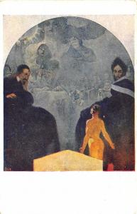 Alphonse Mucha Signed Art Nouveau Nude Woman  Stenk Postcard