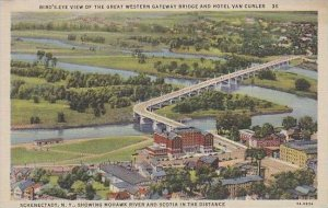 New York Schenectady Birds Eye View Of The Great Western Gateway Bridge And H...