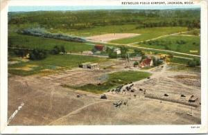 Reynolds Field Airport Jackson MI Michigan Postcard F11