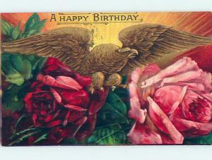 Pre-Linen patriotic GOLDEN EAGLE ON LARGE PINK AND RED ROSE FLOWERS HJ2854