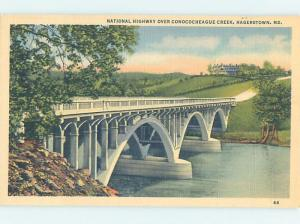 Unused Linen BRIDGE SCENE Hagerstown Maryland MD H8043