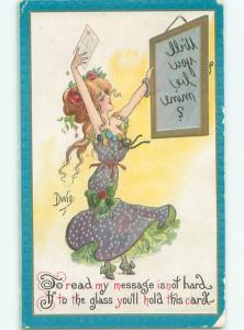 Pre-Linen Risque signed DWIG - SEXY GIRL WITH REVERSE MESSAGE IN MIRROR AB6091