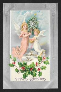 'Happy Christmas' 2 Angels Tree & Holly Unused c1910s