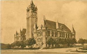 Spokane Washington WA Court House Sepia Postcard