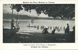 salomon islands, BOUGAINVILLE, Arrival of the Missions Boat (1920s) Mission