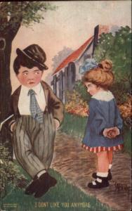 Beaty Fancy Kids Smoking Cigarette I DON'T LIKE YOU ANYMORE c1910 Postcard