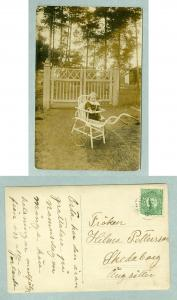 Sweden. 1912. Photo Card. Child In Garden Chair. Postal Used