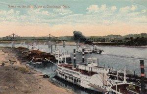 CINCINNATI , Ohio, 1900-10s ; Scene on the Ohio river, Steamers
