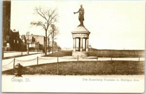 Chicago, IL Postcard The Rosenberg Fountain in Michigan Ave. c1900s UNUSED