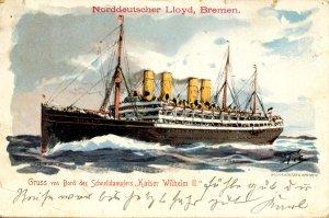 Norddeutscher Lloyd, Bremen - SS Kaiser Wilhelm II. Posted: US German Sea P...
