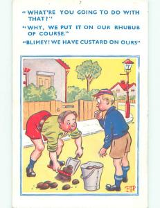 Pre-Linen comic signed FOREIGN - MAN CLEANS UP HORSE CRAP FROM STREET k3613
