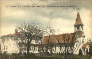 Riverhead Long Island NY Church & Rectory Hand Colored Postcard