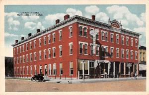 McPherson Kansas birds eye view Union Hotel antique pc Y11672